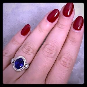2 carat + genuine oval tanzanite diamond halo ring